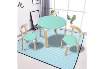 New Modern Stylish Kids Table Chairs Round Wooden Play Set in Light Cyan Colour