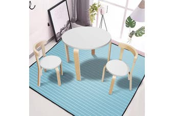 New Modern Stylish Kids Table Chairs Round Wooden Play Set in White Colour