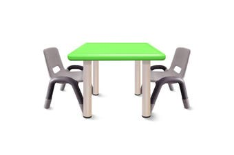 Heavy Duty Plastic Kids Square Table Chairs-Green Table 3pcs