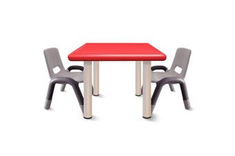 Heavy Duty Plastic Kids Square Table Chairs-Red Table 3pcs