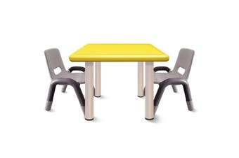 Heavy Duty Plastic Kids Square Table Chairs-Yellow Table 3pcs
