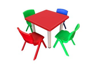 Kid's Adjustable Mixed Square Table with 4 Chairs Set With Red Table