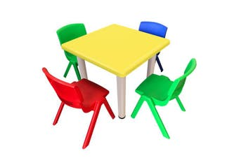 Kid's Adjustable Mixed Square Table with 4 Chairs Set With Yellow Table