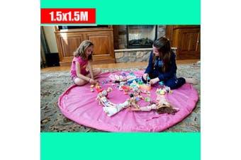 Pink Colour---Kids Play Mat Bag Portable Toy Storage Organizer XL 150cm Lego Toys BrikBag