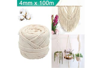 4mm Macrame Rope Natural Beige Cotton Twisted Cord Artisan Hand Craft 100M