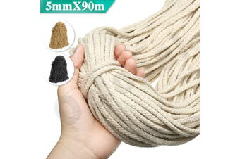 5mm Macrame Rope Natural beige Cotton Twisted Cord Artisans Hand Craft 90M NEW