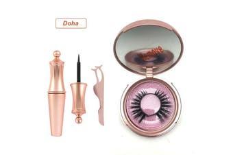 Magnetic Eyelashes False Eye Lashes Extension Liquid Eyeliner and Tweezer (DOHA)