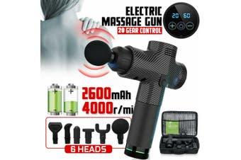 LCD Therapy Massage Gun Percussive Vibration Muscle Massager Sports Recovery Au + 6 Heads (Black)