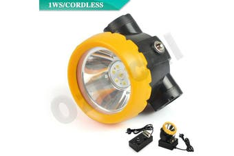 1W 3500 Lux Miners Cordless Power LED Helmet Light Safety Head Cap Lamp