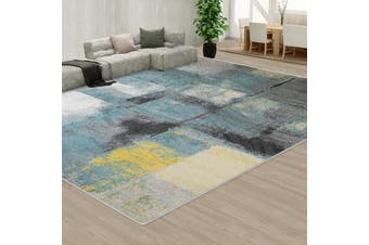 OliandOla Large Floor Area Abstract Rug Modern Carpet Bosco Blue Dotted Grey
