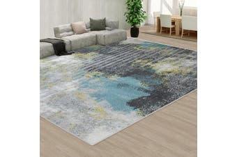 OliandOla Black Blue Creamy Color Floor Area Abstract Rug Modern Large Carpet