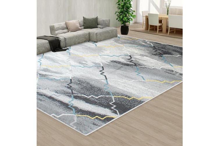 OliandOla Black Grey Color Pattern Floor Area Abstract Rug Modern Large Carpet(230cm x 160cm)