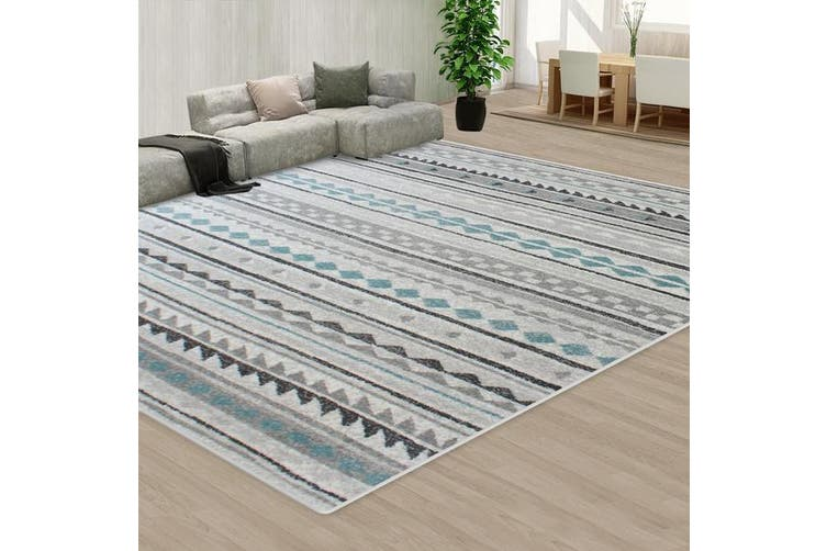 OliandOla Blue Black Grey Color Pattern Floor Area Abstract Rug Modern Large Carpet(245cm x 245cm )