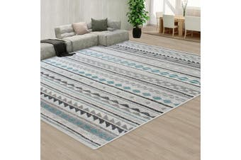 OliandOla Blue Black Grey Color Pattern Floor Area Abstract Rug Modern Large Carpet(90cm x 60cm, Door Mat)