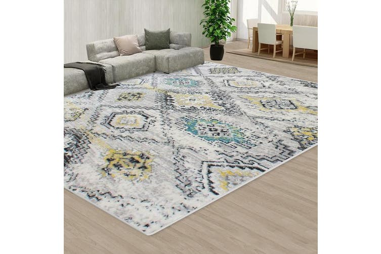 OliandOla Style Pattern Grey Creamy Floor Area Abstract Rug Modern Large Carpet(90cm x 60cm, Door Mat)