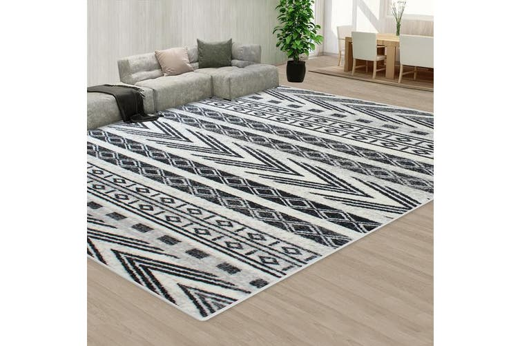 OliandOla Black Creamy Style Pattern Floor Area Abstract Rug Modern Extra Large Carpet(90cm x 60cm, Door Mat)
