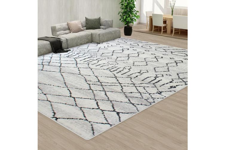OliandOla Black Grey Style Pattern Floor Area Abstract Rug Modern Large Carpet(200cm x 140cm)