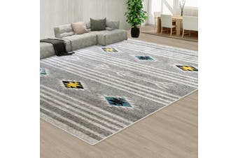 OliandOla Grey Black Style Pattern Floor Area Abstract Rug Modern Large Carpet(230cm x 160cm)