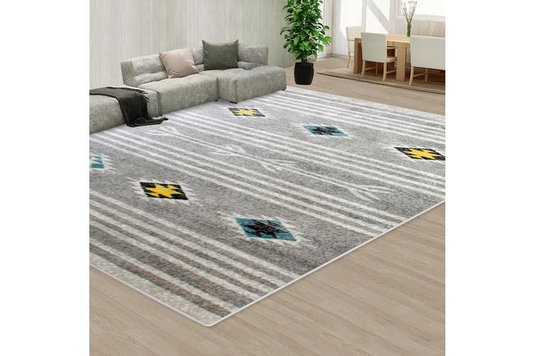 OliandOla Grey Black Style Pattern Floor Area Abstract Rug Modern Large Carpet(90cm x 60cm, Door Mat)