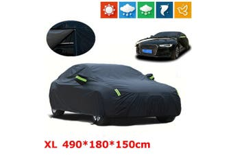 XL Black Waterproof Oxford fabric Outdoor Car Cover Thick Rain UV Resistant AU