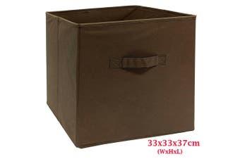 Foldable Folding Storage Cube Storage Box Bookcase Fabric Cube Toy Organiser(Large_DarkBrown)