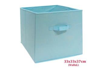 Foldable Folding Storage Cube Storage Box Bookcase Fabric Cube Toy Organiser(Large_LightBlue)
