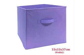 Foldable Folding Storage Cube Storage Box Bookcase Fabric Cube Toy Organiser(Large_Purple)