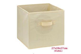 Foldable Folding Storage Cube Storage Box Bookcase Fabric Cube Toy Organiser(Small_Beige)