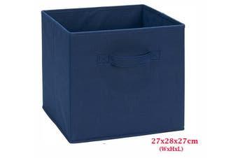 Foldable Folding Storage Cube Storage Box Bookcase Fabric Cube Toy Organiser(Small_DarkBlue)