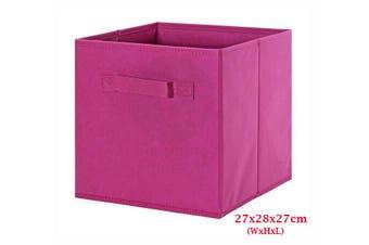 Foldable Folding Storage Cube Storage Box Bookcase Fabric Cube Toy Organiser(Small_DarkPink)