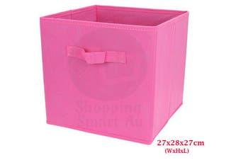 Foldable Folding Storage Cube Storage Box Bookcase Fabric Cube Toy Organiser(Small_LightPink)