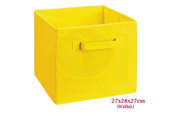 Foldable Folding Storage Cube Storage Box Bookcase Fabric Cube Toy Organiser(Small_Yellow)