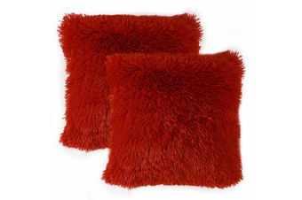 Pack of 2 Long Pile Soft Shaggy Faux Fur Cushion Covers Plain Fluffy Pillow Case Red