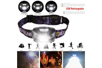 Waterproof Head Torch LED Headlamp Flashlight USB Rechargeable CREE Camping Fish