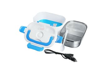 12V Portable Car Electric Heated Lunch Box Heating Bento Food Warmer Container(Blue)