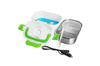12V Portable Car Electric Heated Lunch Box Heating Bento Food Warmer Container(Green)