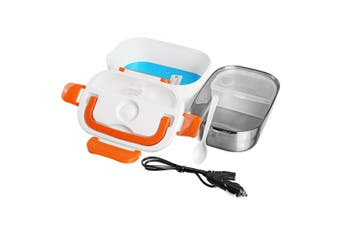 12V Portable Car Electric Heated Lunch Box Heating Bento Food Warmer Container(Orange)