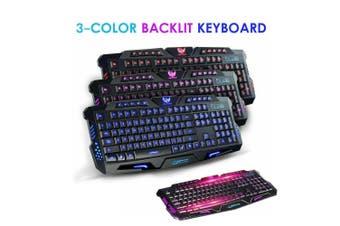 3 Color Keyboard Led Backlight Wired USB Illuminated Cool Ergonomic PC Gaming AU