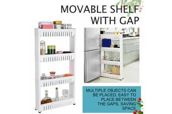 4 Tier Removable Kitchen Trolley Rack Holder Storage Shelf Organizer Wheels AU