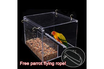 Automatic Parrot Feeder No Mess Bird Cage Acrylic Feeding Container 3M Rope Gift
