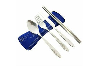 4Pcs Stainless Steel Cutlery Set Knife Fork Spoon Chopsticks With Portable Bag A(Dark Blue)