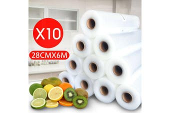 10 Rolls Vacuum Food Sealer Saver Bag Seal Storage Commercial Heat Grade 6MX28cm (10 Rolls X 6M x 28CM)