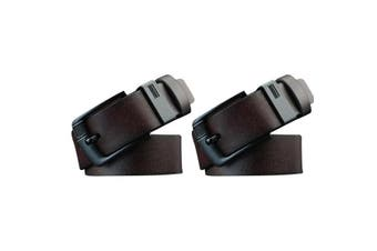 2x Coffee Mens PU Leather Pin Buckle Business Belt
