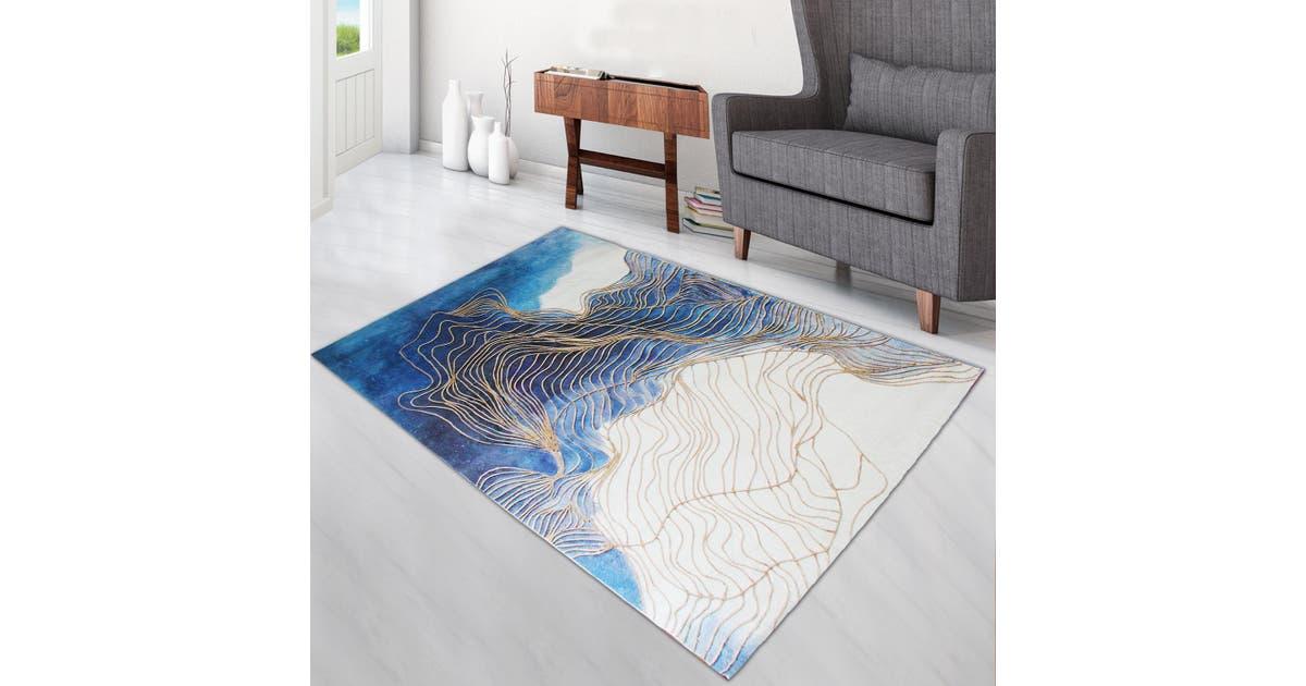 Super Soft Thin Thread Floor Area Modern Abstract Rug Carpet Beige Blue Gold 200x300cm Kogan Com