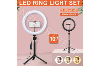 """10"""" Dimmable LED Ring Light with Tripod Stand Selfie Make Up Lamp 360° Rotation"""