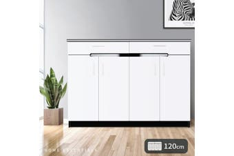 OliandOla White+Black High Gloss Shoe Cabinet Rack Storage Organiser - 4 Door 120cm