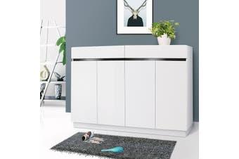 OliandOla NEW White High Gloss Shoe Cabinet Rack Storage Organiser -4 Door 140cm