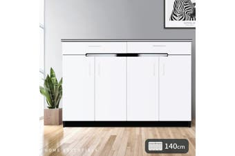OliandOla White+Black High Gloss Shoe Cabinet Rack Storage Organiser - 4 Door 140cm
