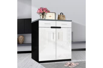 OliandOla White+Black High Gloss Shoe Cabinet Rack Storage Organiser - 2 Door 80cm