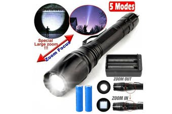 990000LM Super Bright Tactical Flashlight T6 LED Torch Light & Charger